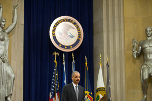 Attorney General Eric Holder speaks at the Department of Justice in Washington, D.C., on Feb. 18, 2009. (Saul Loeb/AFP/Getty Images)