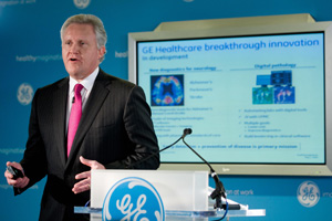 Jeff Immelt, chairman and CEO of GE, during a presentation on General Electric's strategy for global health in May. (Saul Loeb/AFP/Getty Images)