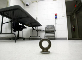 An interrogation room in Camp Delta. (Joe Raedle/Getty Images)