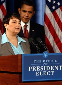 Lisa Jackson and President-elect Barack Obama (Jeff Haynes-Pool/Getty Images)
