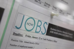 A job posting on a bulletin board at the Career Link Center One Stop job center in San Francisco. (Justin Sullivan/Getty Images)