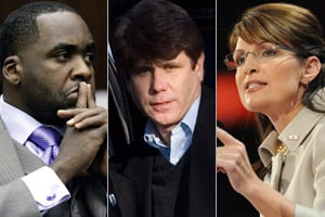Kwame Kilpatrick, Rod Blagojevich and Sarah Palin (Getty Images)