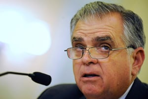 Transportation Secretary Ray LaHood testifying before Congress. The secretary recently defended his department's funding of stimulus projects against rumblings about the descreasing amount of money moving through the system. (Jonathan Ernst/Getty Images)