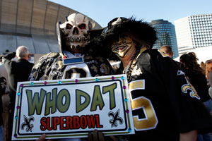 Fans of the New Orleans Saints hold up a sign before the NFC Championship Game at the Superdome on Jan. 24, 2010, in New Orleans. (Chris Graythen/Getty Images)