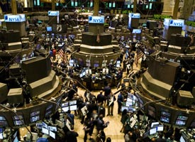 Traders on the floor of the New York Stock Exchange on Sept. 15, 2008 (Credit: Nicholas Roberts/AFP/Getty Images)