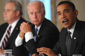 US President Barack Obama makes remarks with Vice President Joe Biden during a Cabinet meeting to discuss the implementation of the Recovery Act on June 8, 2009 at the White House in Washington. (TIM SLOAN/AFP/Getty Images)