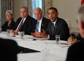 President Obama makes remarks with Vice President Biden during a Cabinet meeting to discuss the implementation of the Recovery Act on June 8, 2009 at the White House. (Tim Sloan/AFP/Getty Images)