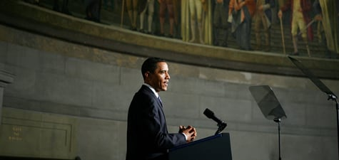 President Barack Obama makes his case on the closing of Guantanamo Bay detention facility in a speech at the National Archives on May 21, 2009. (Alex Wong/Getty Images)