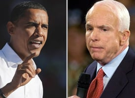 Sens. Obama and McCain on the campaign trail on Sept. 15, 2008 (Credit: Doug Pensinger/Getty Images, Gerardo Mora/Getty Images)