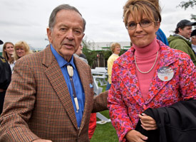 Sen. Ted Stevens and Sarah Palin (Credit: Clark James Mishler/Getty Images)