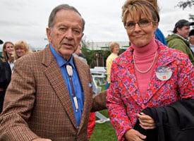 Sen. Ted Stevens and Sarah Palin (Credit: Clark James Mishler/Getty Images)