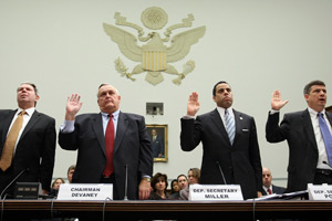 Acting U.S. Comptroller General Gene Dodaro of the Government Accountability Office; Earl Devaney, chairman of the Recovery Accountability and Transparency Board; Deputy Education Secretary Anthony Wilder Miller; and Deputy Transportation Secretary John Porcari are sworn in before the House Oversight and Government Reform Committee on Thursday. (Win McNamee/Getty Images)
