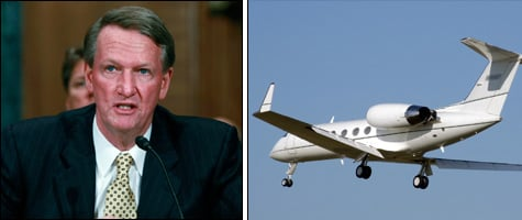 Former GM CEO Rick Wagoner (Getty Images) testifies before Congress on Nov. 18, 2008 after arriving in Washington, D.C. on a Gulfstream IV corporate jet (Wikimedia Commons). After being criticized for traveling by private jet, General Motors asked aviation regulators to prevent public tracking of its aircraft.