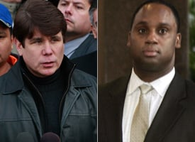 Gov. Blagojevich and Rep. Jesse Jackson Jr.'s brother, Jonathan Jackson, who attended a Blagojevich fundraiser last Saturday. (Scott Olson/Getty Images, Ric Francis AP Photo)