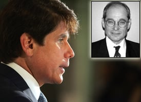 Illinois Gov. Rod Blagojevich and Blagojevich's lawyer Sheldon Sorosky, inset (Tim Boyle/Getty Images, ICJIA)