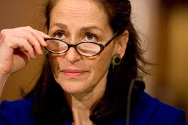 Dr. Margaret Hamburg, testifying at a hearing for her nomination to the FDA commissioner post on May 7, 2009.  (AP Photo/Evan Vucci)