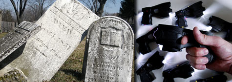 Straightening headstones and purchasing Taser stun guns are two kinds of expenditures that have both been shot down, and approved in other cases, for stimulus funds. (Taser photo: Getty Images file photo; Cemetery photo: Flickr user ChicagoGeek)
