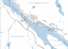 A map by Alaska's Department of Transportation showing the proposals being considered for the Gravina Access project. (Credit: Department of Transportation, Alaska)