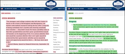 ProPublica's ChangeTracker catches a dramatically shortened Civil Rights page. (Versionista)