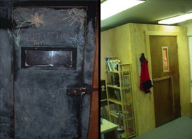 A seclusion door in a Tennessee classroom, left, and a classroom seclusion room in Kansas, right. (National Disability Rights Network)