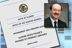 A state audit found the Illinois State Police Crime lab reported bogus DNA backlog numbers while Michael Sheppo, inset, was chief. (ProPublica)