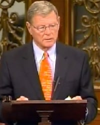 Sen. James Inhofe defends hydraulic fracturing on the Senate floor.