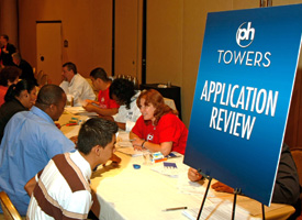 Job applicants are interviewed during a two-day job fair at the Planet Hollywood Resort & Casino in Las Vegas, Nev. (Ethan Miller/Getty Images)