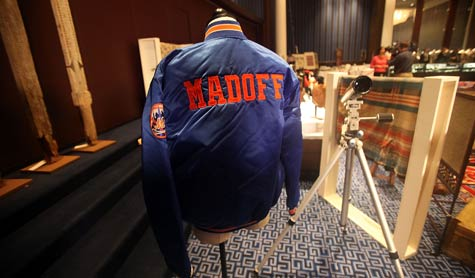 A New York Mets baseball jacket is displayed during a U.S. Marshals Service auction of personal property seized from Bernard and Ruth Madoff on Nov. 13, 2009, in New York City. (Mario Tama/Getty Images)