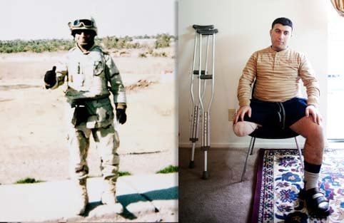 Malek Hadi was working with the U.S. military police when a homemade bomb detonated beneath his Humvee in September 2006. It cost him his right leg and several fingers. Documents show AIG insurance withheld his disability benefits in an effort to force him to accept a lump-sum settlement. Left: Hadi in Baghdad. Right: Hadi in his Arlington, Texas, apartment (Allison V. Smith/For The Los Angeles Times.)
