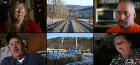 Pat Farnelli, top left, Ronald Carter, bottom left, Richard Seymour, top right, and Norma Fiorentino, bottom right, live in Dimock, Pa. A year after Cabot Oil & Gas landmen knocked on their doors to sign drilling leases, they are finding that their drinking water now contains methane, the largest component of natural gas. (Abrahm Lustgarten/ProPublica)