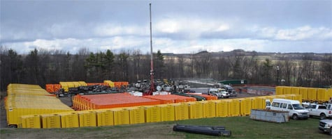 A hydraulic fracturing operation in Bradford County, Pa. It's possible that for each modern gas well drilled in the Marcellus and places like it, more than three million gallons of chemically tainted wastewater could be left in the ground forever.(Photo courtesy of the New York State Environmental Impact Statement)