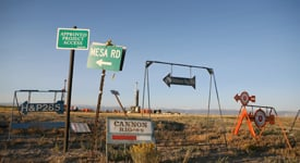 Signs put in all directions to drilling sites in Wyoming. (Credit: Abrahm Lustgarten)