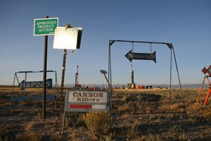 Signs point in all directions to drilling sites in Wyoming. (Abrahm Lustgarten/ProPublica)