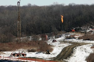 A gas drilling site on the Marcellus Shale is seen in Hickory, Pa., on Feb. 24, 2009. (Jason Cohn/Reuters)