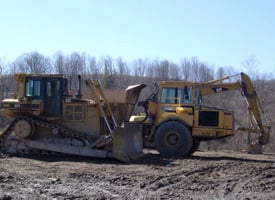 Bulldozers and diggers prepare a meadow for drilling in Susquehanna, Pa. (Credit: Edward Marritz)