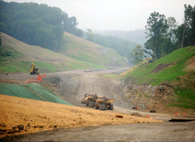 Construction work continues on the State Route 33 Bypass around downtown Nelsonville, Ohio. The stimulus project is challenging business leaders to prevent the city from becoming invisible once construction is completed in 2012. (Ty Wright/AP Photo)