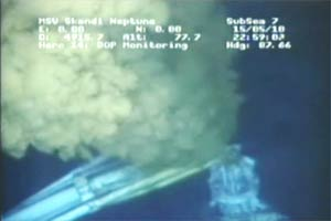 BP footage of the leak after an attempted siphon.