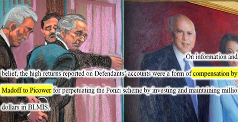 Jeffry M. Picower is alleged to have taken in $5.1 billion as a result of fraudulent returns from Madoff accounts. (Courtroom rendering of Madoff trial/Christine Cornell/AFP/Getty Images; Photo of Picowers portrait/Ryan Mark)