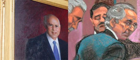 Left: Picower portrait in Massachusetts Institute of Technology's Picower Institute. Right: Getty Images illustration of Bernard Madoff.