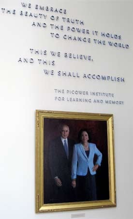 The Picowers' portrait, as it hangs in the Picower Institute for Learning and Memory at the Massachusetts Institute of Technology. The Picower Foundation gave $50 million to MIT, the school's single largest gift from a private foundation. (Photo by Ryan Mark)