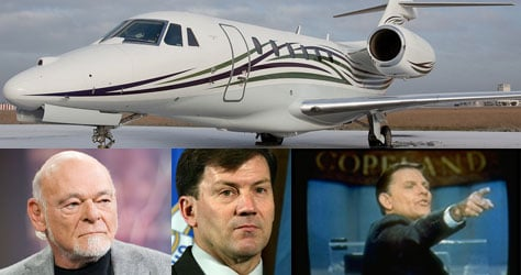 Top: A Cessna Citation X; Left to right: Sam Zell, Gov. Mike Rounds and Kenneth Copeland (Top: flickr user Jerome_K; Left to right: Jonathan Fickies/Bloomberg, Alex Wong/Getty Images, Shelly Katz/Time Life Pictures/Getty Images)