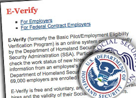 E-Verify is operated by the Department of Homeland Security and the Social Security Administration and is designed to help employers confirm the work status of new employees. (Credit: ProPublica)