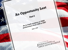 The Coalition of Journalists for Open Government released a report finding unprocessed FOIA requests at a near-record number. (Credit: ProPublica)