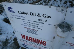 A Cabot Oil & Gas sign in Susquehanna County, Pa., taken last February. (Abrahm Lustgarten/ProPublica)