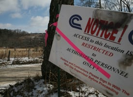 A drill site entrance near the spill site in Dimock, Pa., taken this past winter. (Abrahm Lustgarten /ProPublica)