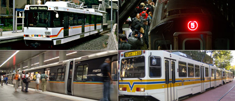 The St. Louis Metro, New York City's MTA, Atlanta's MARTA and Sacramento's SRTD are all facing budget deficits. (Wikimedia Commons and Getty Images)