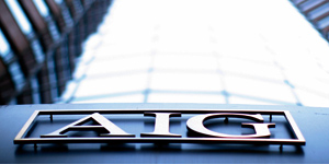 The logo of American International Group (AIG) is seen at their offices in New York. (Eric Thayer/Reuters)