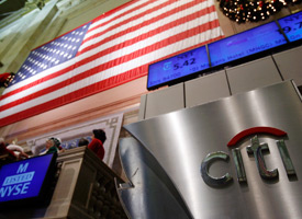 The Citi trading post sign is seen on the floor of the New York Stock Exchange. (Shannon Stapleton/Reuters)