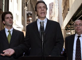 New York Attorney General Andrew Cuomo threatened to sue AIG if it continued to give execs big bonuses (Brendan McDermid/Reuters)