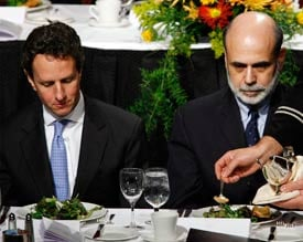 President Barack Obama's pick for Treasury secretary, Timothy F. Geithner (pictured left, with Fed Chairman Ben Bernanke), is said to be a leading architect of the Fed's massive lending program. (Reuters file photo/Lucas Jackson)